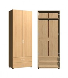 Шкаф для одежды<br>2 дв. 2 ящ.<br>ШхВхГ<br>840х2040х420мм<br>840х2240х420мм