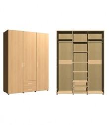 Шкаф комбинированный<br>3 двери 2 ящика<br>ШхВхГ<br>1400х2040х560мм<br>1680х2040х560мм<br>1400х2240х560мм<br>1680х2240х560мм